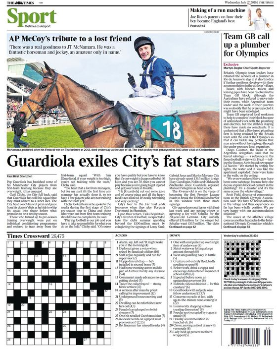 Wednesday's Times back page: Guardiola exiles Citys fat stars #tomorrowspaperstoday #bbcpapers #mcfc https://t.co/F2AkePmdcE