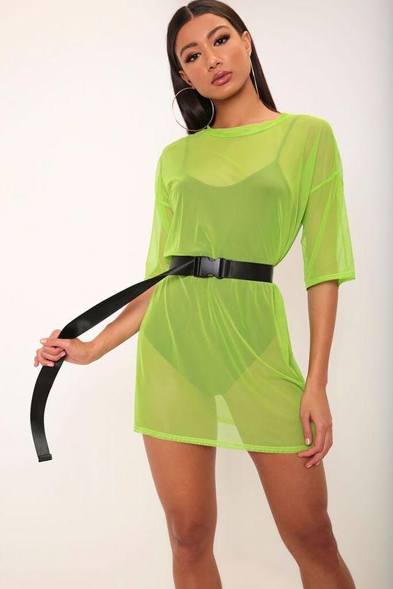 roupas neon transparente