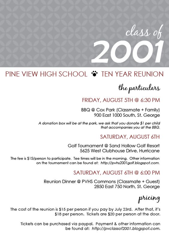 Class reunion ideas class reunion invitation templates for Class reunion program template