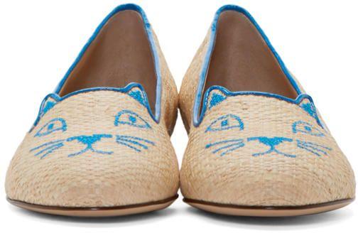 Charlotte Olympia Chaussures à talons plats brun clair à chaton