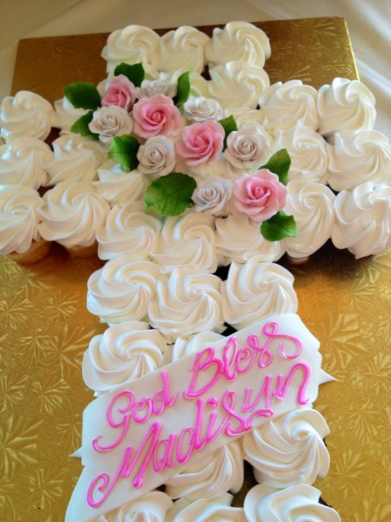 Baptism cupcake cake would be nice for a family easter for Dessert for easter dinner