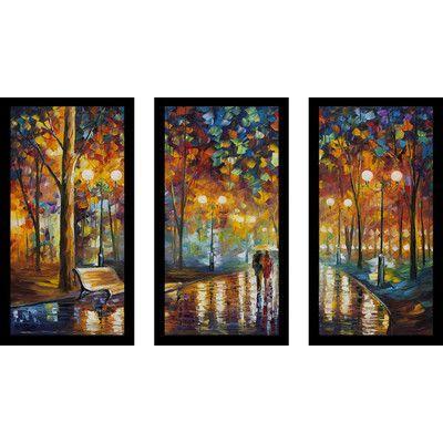 "PicturePerfectInternational ""Rains Rustel"" by Leonid Afremov 3 Piece Framed Painting Print Set Size:"