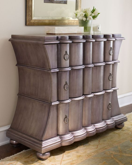 """Pewter"" Chest, Three-drawer chest with scalloped drawer fronts is hand painted in an antiqued pewter finish. Handcrafted of hardwood solids, laminated lumber, and veneers."