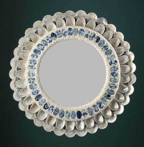 """From Maison Gerard, Thomas Boog, """"Porcelaine"""" Coquillage Mirror (2012), Blue and white porcelain with white mother of pearl, 19 × 19 in"""
