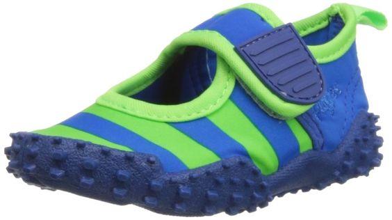 Playshoes Aquaschuhe, Badeschuhe Streifen mit höchstem UV-Schutz nach Standard 801 174795, Mädchen Aqua Schuhe, Blau (blau/grün 791), EU 22/23