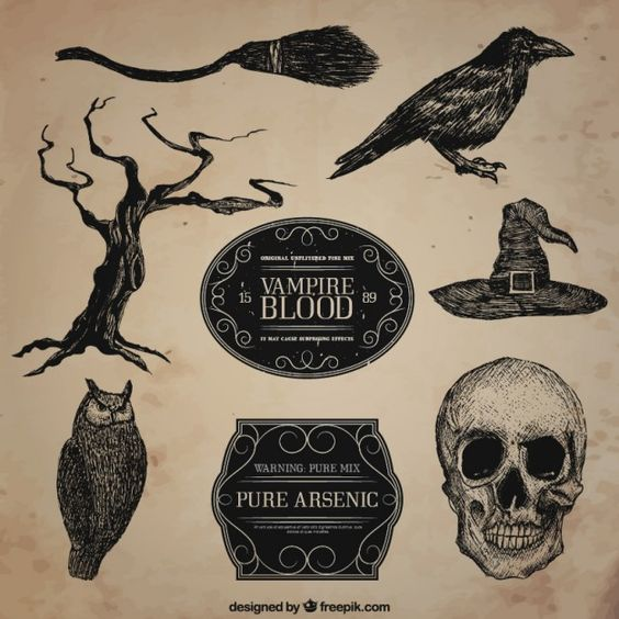Desenhadas mão ilustrações do dia das bruxas escuras Vetor grátis
