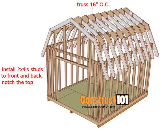 Shed Plans 10x12 Gambrel Shed Construct101 Shed Plans Diy Shed Plans 10x12 Shed Plans