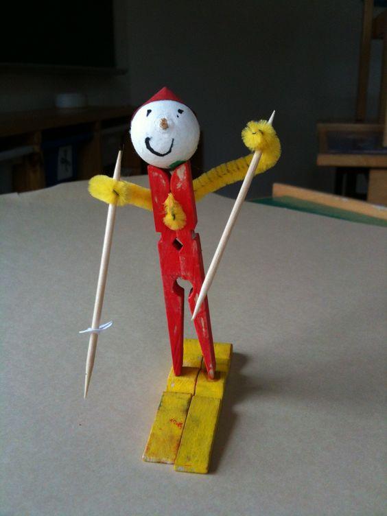 Skieur en pince linge activit s manuelles pinterest - Linge deteint que faire ...