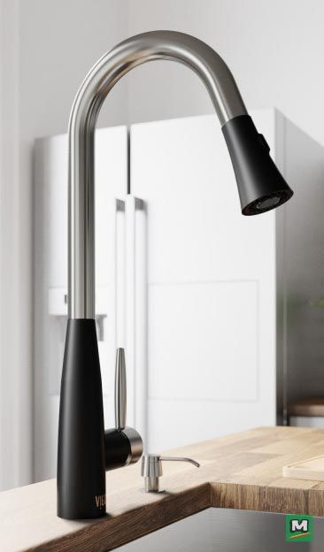 The Vigo Pull Down Kitchen Faucet Offers A Clean Design Paired With Function Stainless Kitchen Faucet Black Stainless Steel Kitchen Kitchen Faucets Pull Down