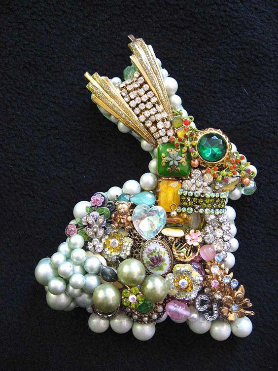 Vintage Jewelry Collage Sculpture Mint Bunny by ArtCreationsByCJ, $80.00