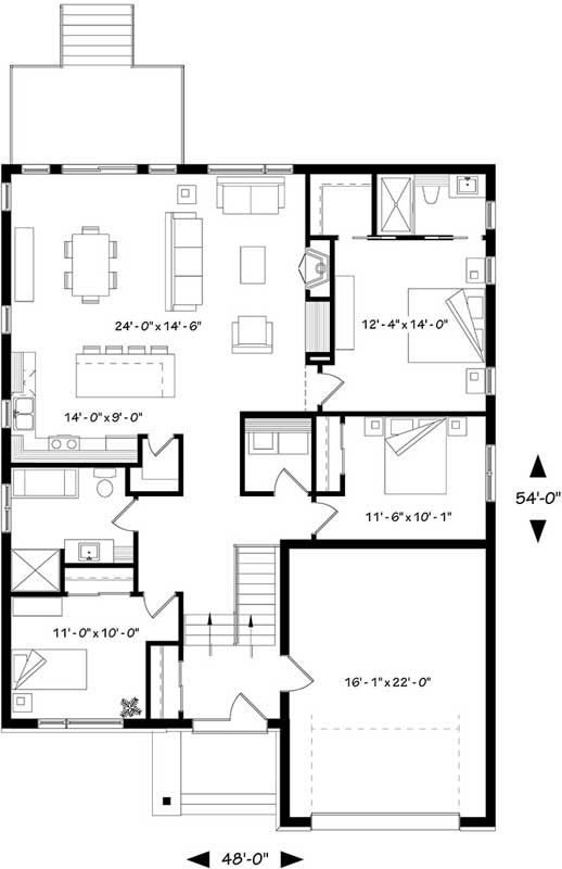 House plans furniture and style on pinterest for Modern 3 bedroom house plans no garage