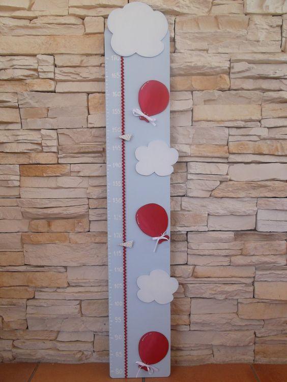 Medidor de madera en celeste con aplicaciones en rojo y - Medidor infantil madera ...
