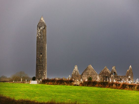 Kilmacduagh Round Tower  Gort, Co. Galway  Located in a monastic complex of medieval churches, a cathedral, cemetery, and Glebe House.