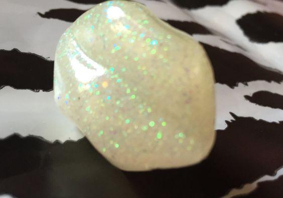 anello kawaii regolabile con cabochon labbra lucide bianco glitter di AlyKawaiiShop su Etsy
