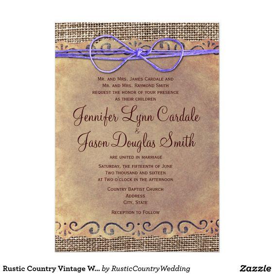 Rustic Country Vintage Wedding Invites Purple Bow