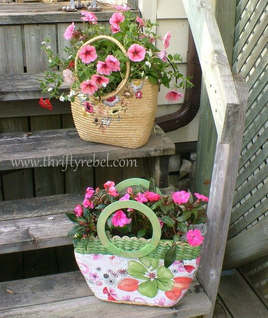 Upcycle a thrift store purse as a sprightly planter.