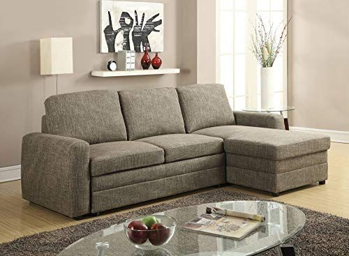New Acme Furniture Derwyn 51645 Sectional Sofa Light Brown Linen Online With Images Sectional Sofa