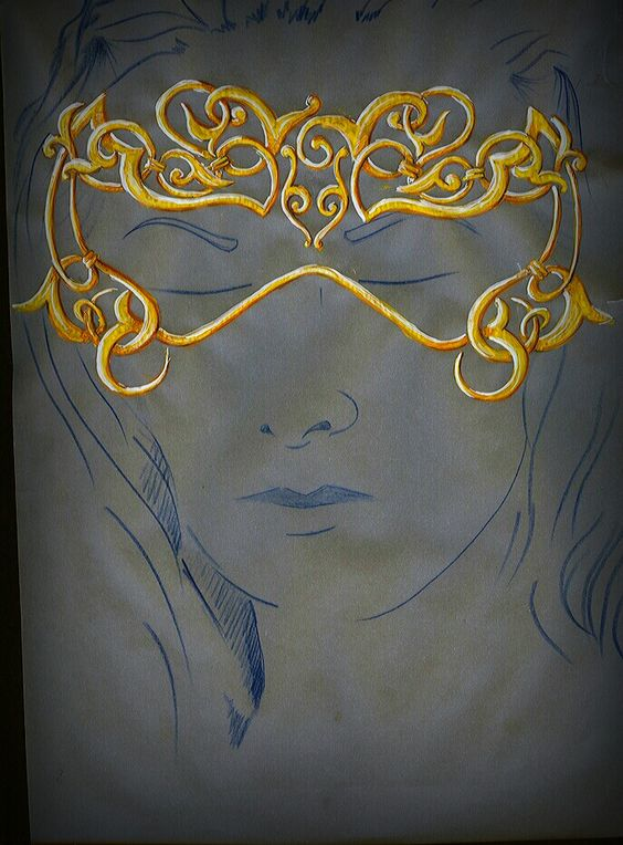 Emotional mask for bride .. gold
