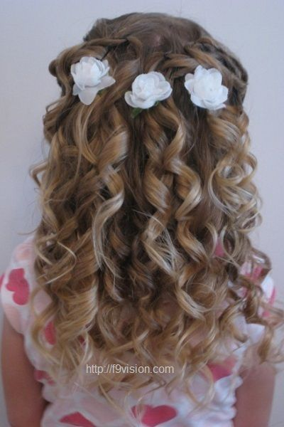 Formal Hairstyles For Kids Cute Little Girl Curly Back View Hairstyles Prom Hairstyles Hair Styles Flower Girl Hairstyles Kids Hairstyles