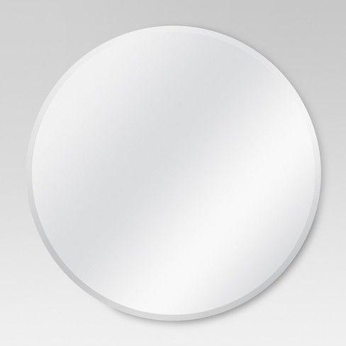 Round Frameless Decorative Wall Mirror, Threshold Frameless Mirror Set How To Hang