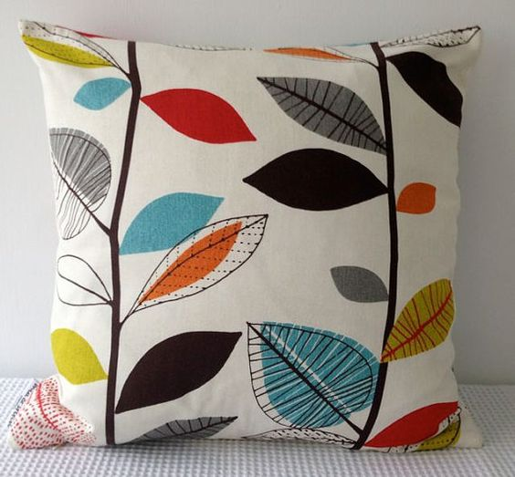 Retro autumn leaves in red orange turquoise and by miaandstitch, $25.00