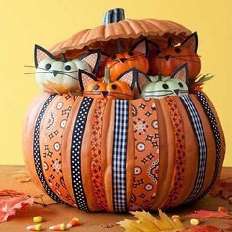 Kitty Cat Pumpkin Craft...these are the BEST Carved & Decorated Pumpkin Ideas for Halloween!: