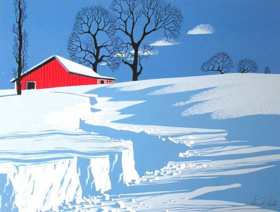 Eyvind Earle.  This is almost startling -- so stark and crisp.  Reminds me of winter mornings back in Indiana.: