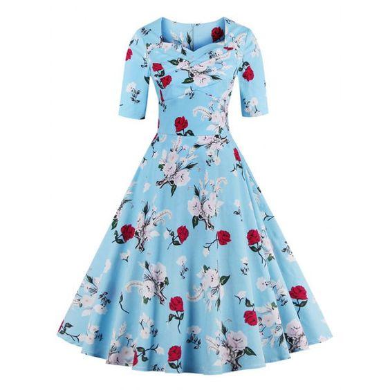 Vintage Sweetheart Neck Floral Print Women's Dress   TwinkleDeals.com