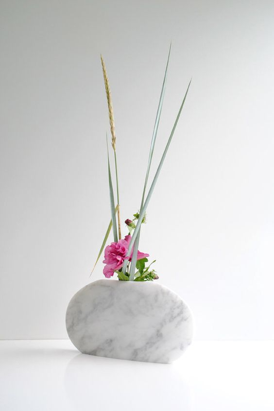 Minimalist White Marble Sculpted Vase, White Carrara Marble Vase, Modern Marble Vase, Ikebana Sculpture, White Home Decor, Original Art Vase by Sevenstone on Etsy https://www.etsy.com/listing/198383551/minimalist-white-marble-sculpted-vase