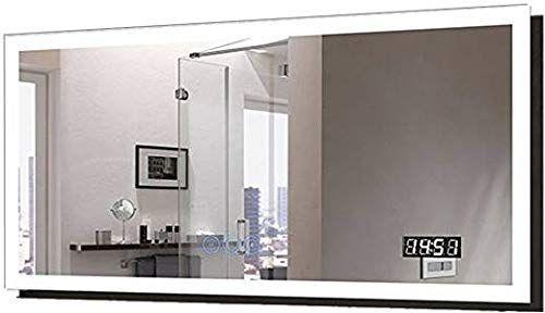 D Hyh 55 X 28 In Horizontal Clock Led Bathroom Mirror With Anti