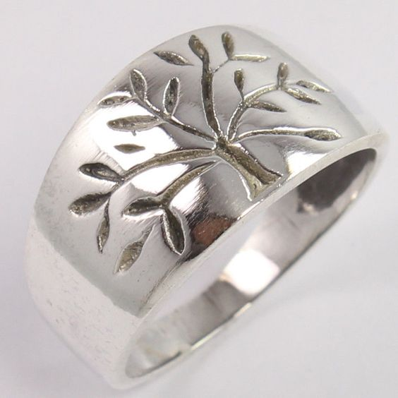 Unique Design 925 Sterling Silver Jewelry TREE OF LIFE 11mm Band Ring Size US 7 #Unbranded