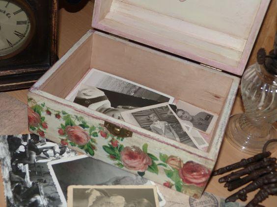 Caja de madera decorada estilo vintage, con decapado, envejecido, decoupage y estarcido.