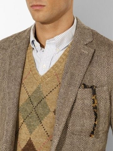 A perfect way to incorporate this check pattern into your daily rotation. The argyle sweater vest is paired with a vintage harris tweed jack...