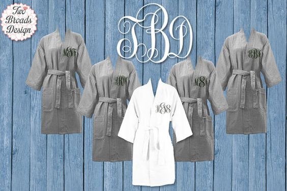 FREE ROBE Set of 7 or MORE  Monogrammed Waffle Robe, Grey Bridesmaid Robe, Monogrammed Bridesmaid Gift, Waffle Robes