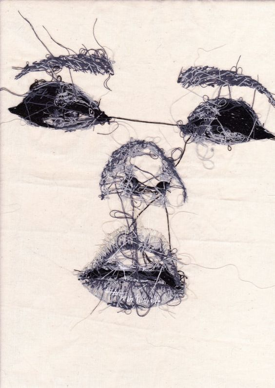 """Hand Embroidered Face """"the wrong side"""" Postcard by Louise Jones                                                                                                                                                      More"""