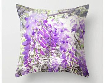 Wisteria Blooms Pillow Lilac Flower Throw Pillow Texas Flower Radiant Orchid Color Nature Throw Pillow and Cover