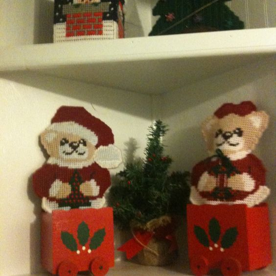 Plastic canvas Mr and Mrs Bears enjoy riding in red trains
