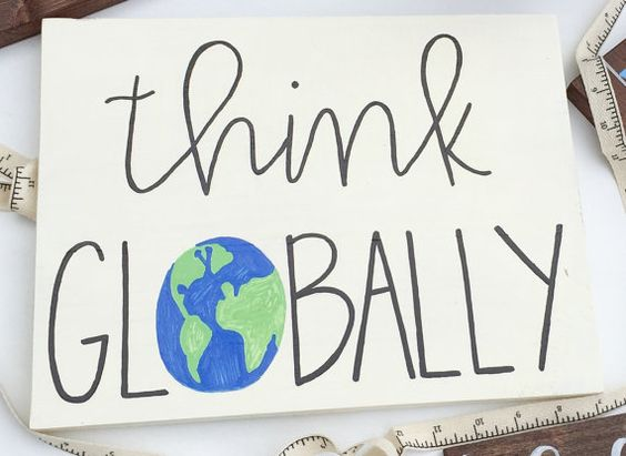 + Think Globally + Dimensions: 12x9  + White Wood / Black Lettering with Globe…