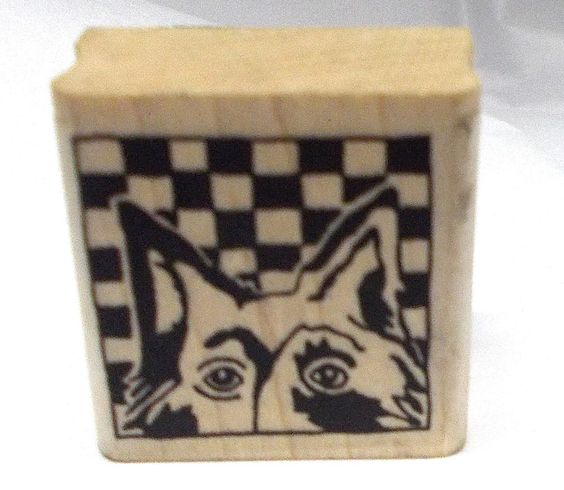 Paula Best Dog rubber stamp Checkerboard background 1x1 wood mounted pets dogs