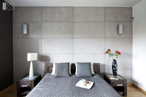 Beton dekoracyjny w nowoczesnej sypialni: