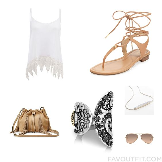 Style Idea Featuring Top Gladiator Sandals Diane Von Furstenberg Shoulder Bag And Tattoo Jewelry From June 2016 #outfit #look