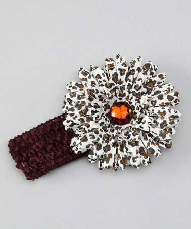 Take a look at this Chocolate Leopard Flower Crochet Headband by Petunia Petals on #zulily today!