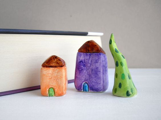 Little clay houses miniature houses tiny by FishesMakeWishesHome