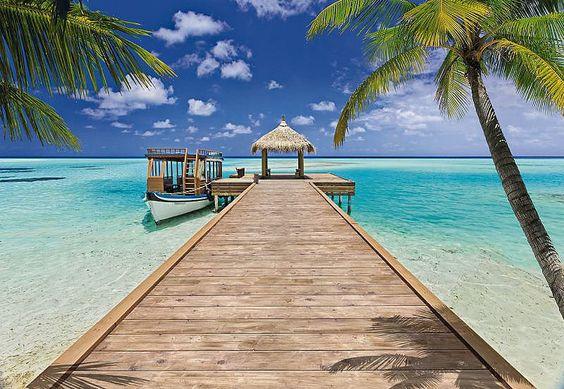 """Die Sonneninsel zum Verlieben - eine traumhafte Szenerie auf den Malediven.  Der Untergrund muss sauber, glatt und fettfrei sein.  Artikeldetails:  Die Fototapete besteht aus 8 Bahnen.  In 2 Ausführungen erhältlich:   Papiertapete:   Wird mit Kleister geliefert  Vliestapete:   Kinderleichtes Tapezieren """"Stoß an Stoß"""" Rückstandlos trocken abziehbar Kein Kleister enthalten  Wissenswertes:  Vliest..."""