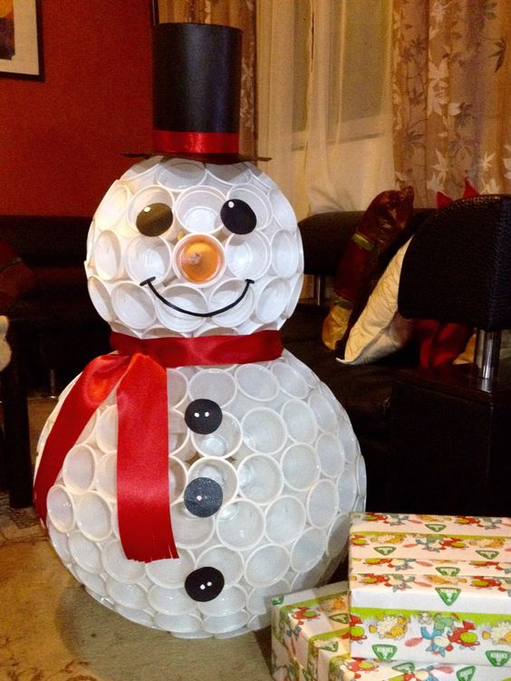 Snowman out of plastic cups.