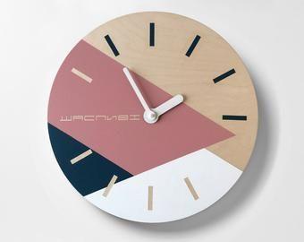 Geometric Wall Clock Minimalist Wall Art Mid Century Clock Etsy In 2020 Minimalist Wall Clocks Wall Clock Custom Clocks