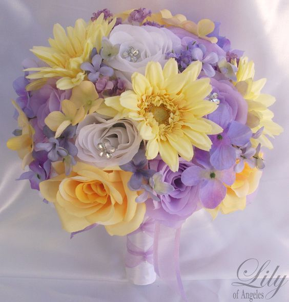 """17pcs Wedding Bridal Bouquet Set Decoration Package Silk Flowers WHITE LAVENDER YELLOW """"Lily Of Angeles"""". $189.99, via Etsy."""