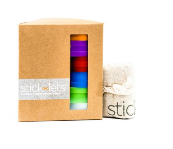 """The Mega Fort Kit includes 18 Stick-lets: (3) Birch Bark White, (3) Grasshopper Green, (3) Huckleberry Blue, (3) Starfish Red, (3) Pardon My Purple, and (3) Monarch Orange. Also included is a silk-screened 6"""" x 8"""" tote bag to carry the connectors. _____________Ages: 6 to 101Connectors: 100% Silicone, ROHS Compliant, Recyclable (check with your county for instruction), Made in TaiwanPackaging: 100% Recyclable Packaging (box), 100% Natural Cotton (tote)Di..."""