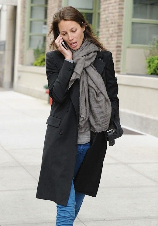 black coat/gray scarf- Christy Turlington | The Look | Pinterest
