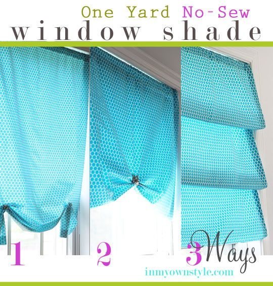 One Yard No-Sew Window Shade styled 3 different ways.  {In My Own Style.com}: Sew Curtain, Bay Window, Sew Shade, Curtains Shades, Small Window Treatment, Diy Curtain, 1 Yard Fabric Projects
